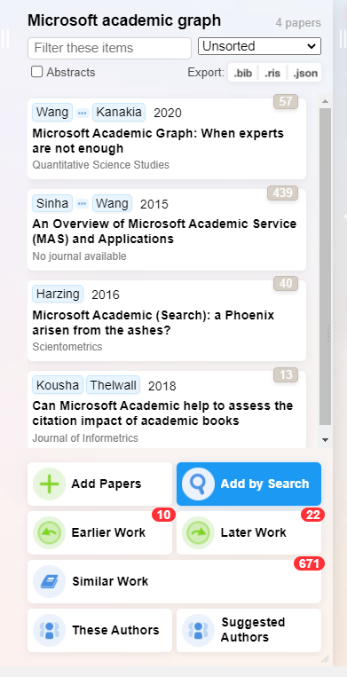Screenshot of the different ways to add papers through Research Rabbit