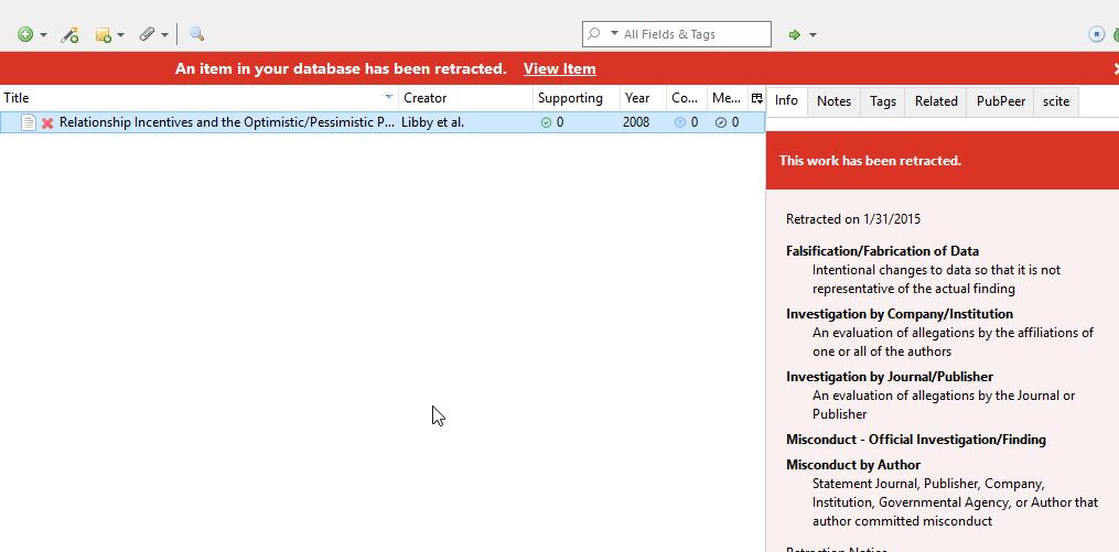 Screenshot of item retracted in Zotero