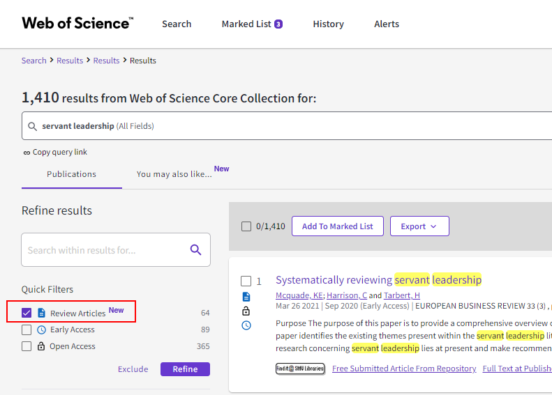 Filtering to Review articles in Web of Science